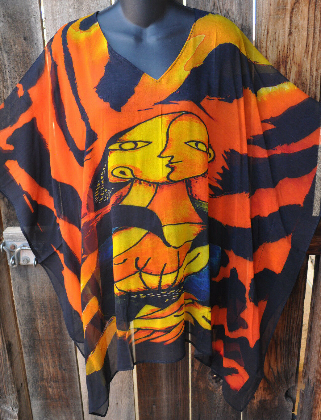 DILEMMA HAND PAINTED PICASSO INSPIrot ART SILK ART TO WEAR LONG PONCHO TUNIC,OS
