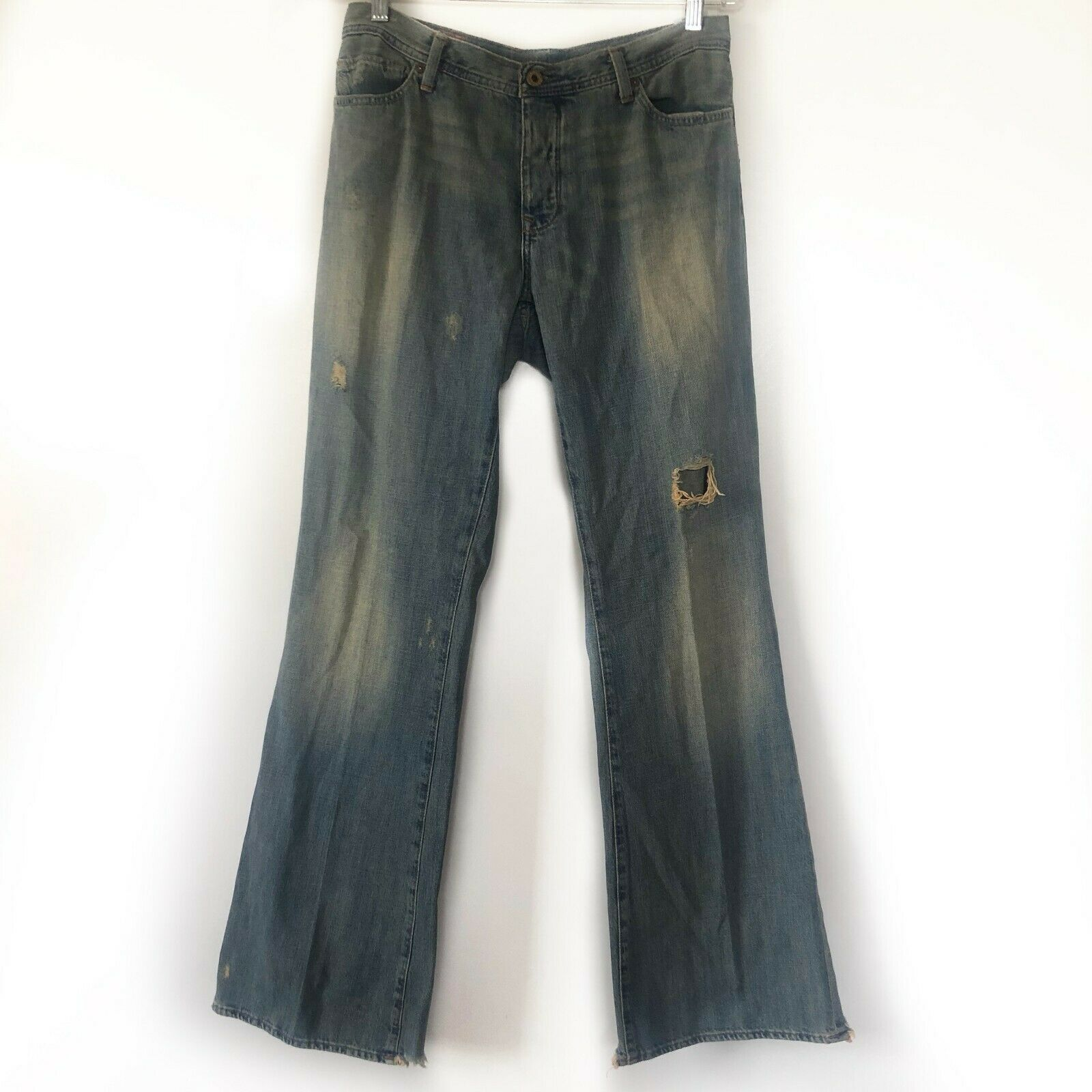 Ralph Lauren No. 67 Womens Jeans Distressed Vintage Wash Flare Boho High Rise 32