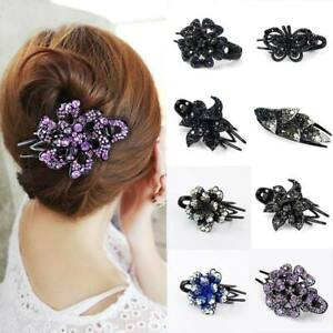 Women/'s Crystal Rhinestone Flower Hair Clips Claw Clamp Bun Net Hair Accessories