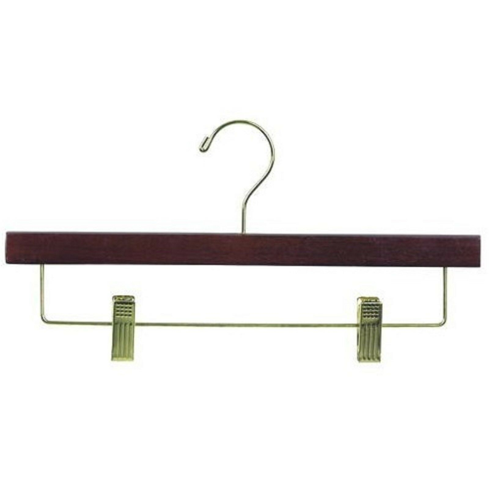 Only Hangers Wooden Pant Skirt Hanger (Walnut & Brass) Box of 25