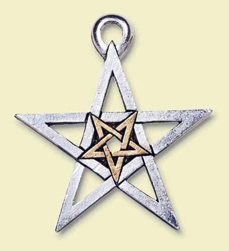 Doppio Pentacolo Protezione & Magia, Argento & Oro, wicca, morbide, Medioevo, Elfi