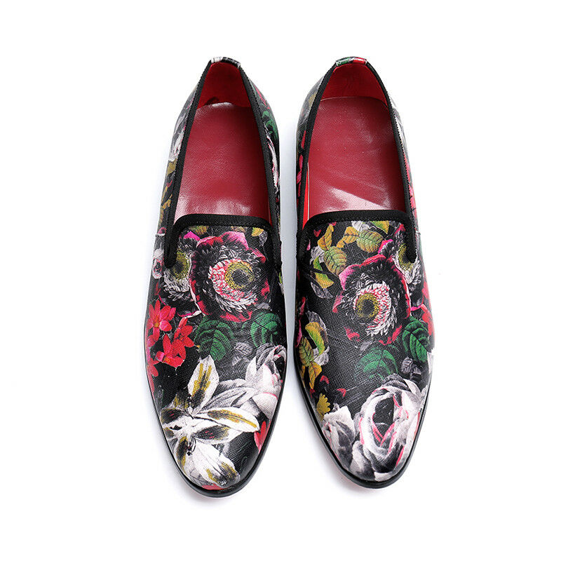 Punk Men's Floral Print Leather Business Casual Slip On Loafers Dress Work Y1131