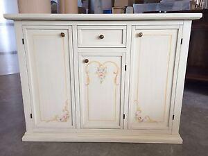 Credenza Con Cucina : Credenza cucina in legno dipinta a mano laccata con decori pronta