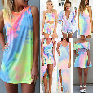Details about Sexy Women Tie-Dye Festival Holiday Party Dress Rainbow  Dresses Rompers Playsuit 1f94259b7