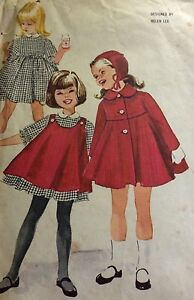 Vintage McCall's Sewing Pattern #5982 Childs Dress Pinafore Coat & Hat Sz 4