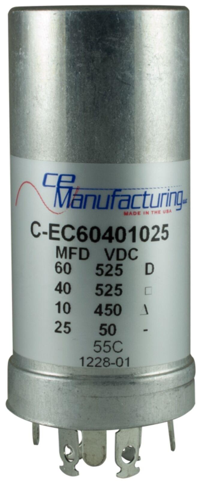 CE fabricación multisection Mallory fp puede condensador, condensador, condensador, 60 40μf @ 525VDC 10μf..  diseño único
