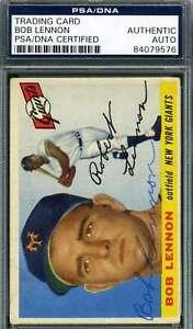 Bob Lennon 1955 Topps Psa Dna Coa Autograph Authentic Hand Signed