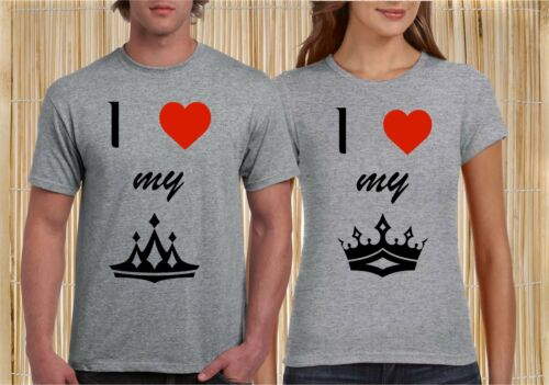 King Queen Love Couple Matching T shirt Valentine Christmas Husband Wife Gifts