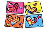 Romero Britto Set Of Four Hearts Placemats Retired