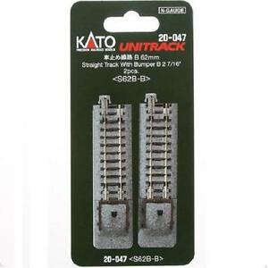 Kato-20-047-Rail-Fin-de-Voie-Single-Track-With-Bumper-B-62mm-2pcs-N
