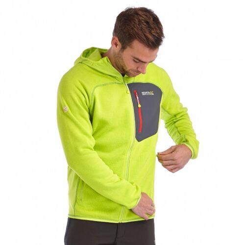 Regatta Cartersville Mens Lightweight Hooded Knit Effect Fleece Jacket Lime