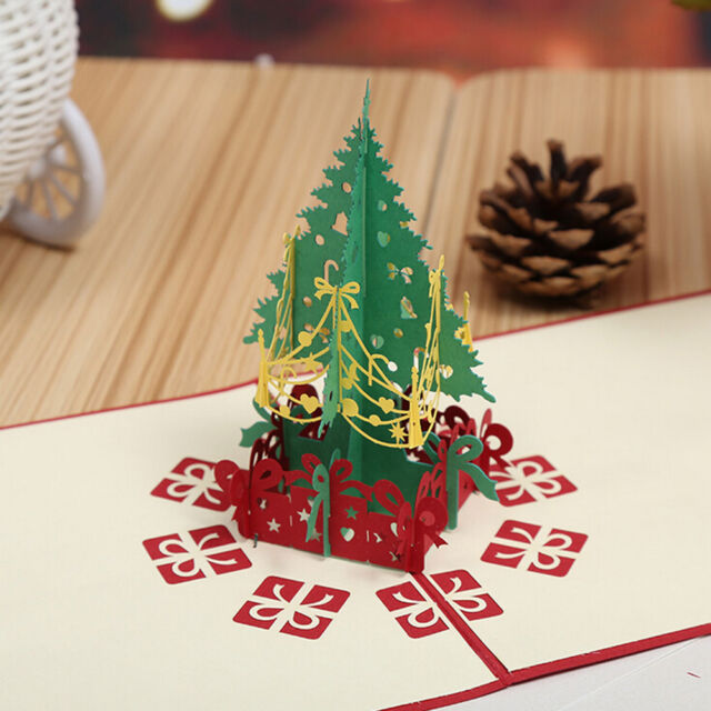 3D Pop Up Holiday Greeting Card Christmas Tree Easter Day Thank You 15*15CM AWG