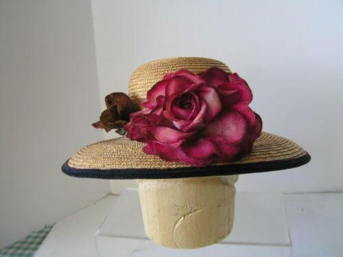 Vintage Adolfo II  Paris STRAW HAT wide Brim with… - image 1
