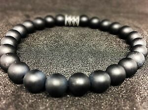 Onyx-matt-Armband-Bracelet-Perlenarmband-Buddha-schwarz-8mm