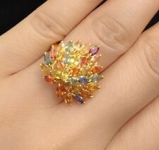 14k Solid Yellow Gold Big Heart Shape Ring, Natural Color Sapphire4.5CT, Sz 7.25