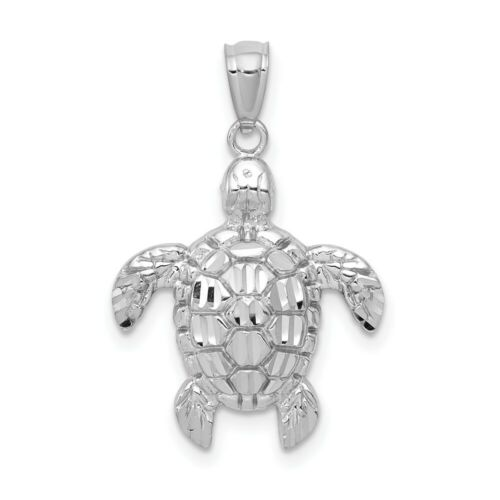 Details about  /14k White Gold Polished Diamond-Cut Sea Turtle Charm Pendant 0.95 Inch