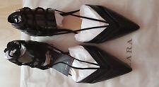 Zara Nero Ballerine Con Cinturini Piatto Vamp Scarpe S/S2016 Nuovo Taglia UK 5 EU 38