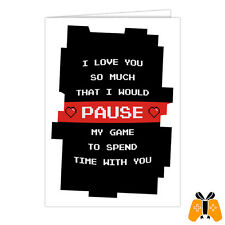 Video Game Valentine's Day Card - anniversary love romantic RPG FPS MMO pause