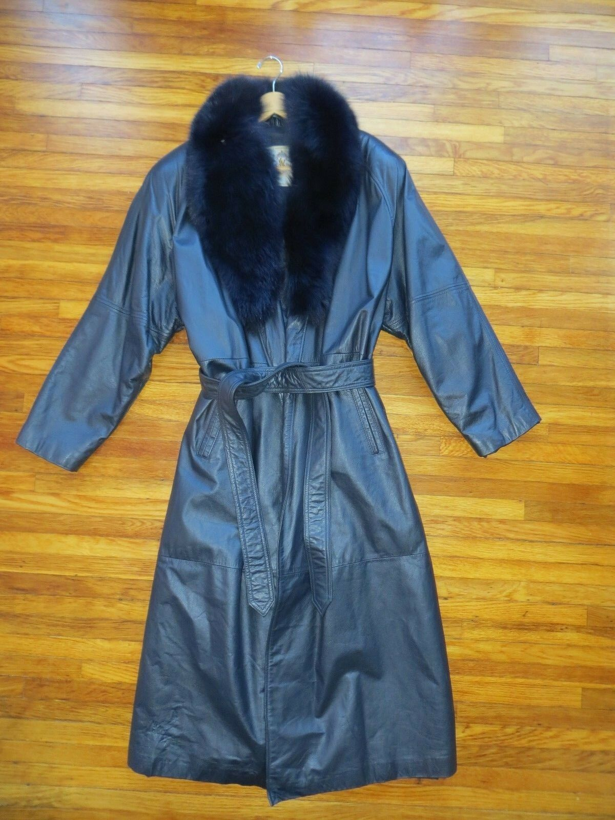 Laura Winston Mujeres Cuero Chaqueta Abrigo  Largo Azul Marino Azul Púrpura Grande de Piel de Zorro  entrega gratis