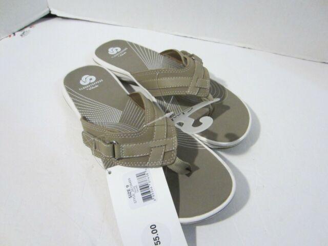 Clarks Womens Breeze Sea Flip Flops Taupe Comfort Summer Sandals NWT