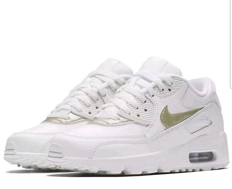 Nike Air Max 90 LTR Garçons Chaussures 833376-103 Femme Baskets Or Blanc 833376-103 Chaussures Taille 4 EUR 36.5- 2b26dd