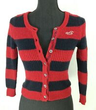 womens Cardigan Size XS black Red knitted striped Good Condition Top Ref:8