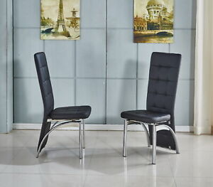 Details About High Back Faux Leather Dining Chair In Black White Grey Chrome Frame Foam Pad