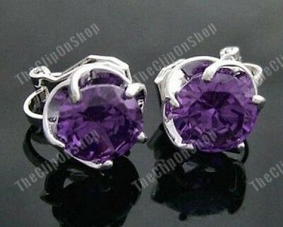 CLIP ON purple,black,white CZ 8mm CUBIC ZIRCONIA 1.2cm wavy silver EARRINGS wave