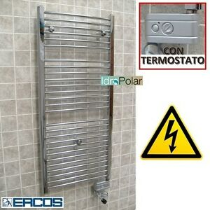 Termoarredo bagno elettrico con termostato ambiente cromato nuovo ercos acciaio ebay - Termoarredo bagno cromato ...