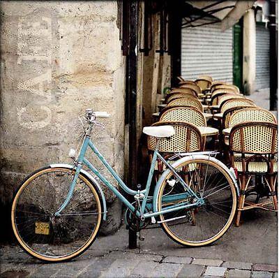 Marc OLivier: Cafe Bicycle Keilrahmen-Bild Leinwand Fahrrad