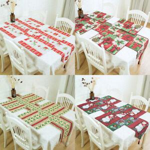 Christmas-Table-Cloth-Plate-Mat-Dinning-Mat-Runner-Tablewear-Home-Party-Decor