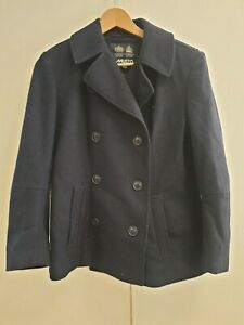 R795-WOMENS-MUSTO-BLUE-DOUBLE-BREASTED-WOOL-COLLARED-PEACOAT-JACKET-UK-12-EU-40