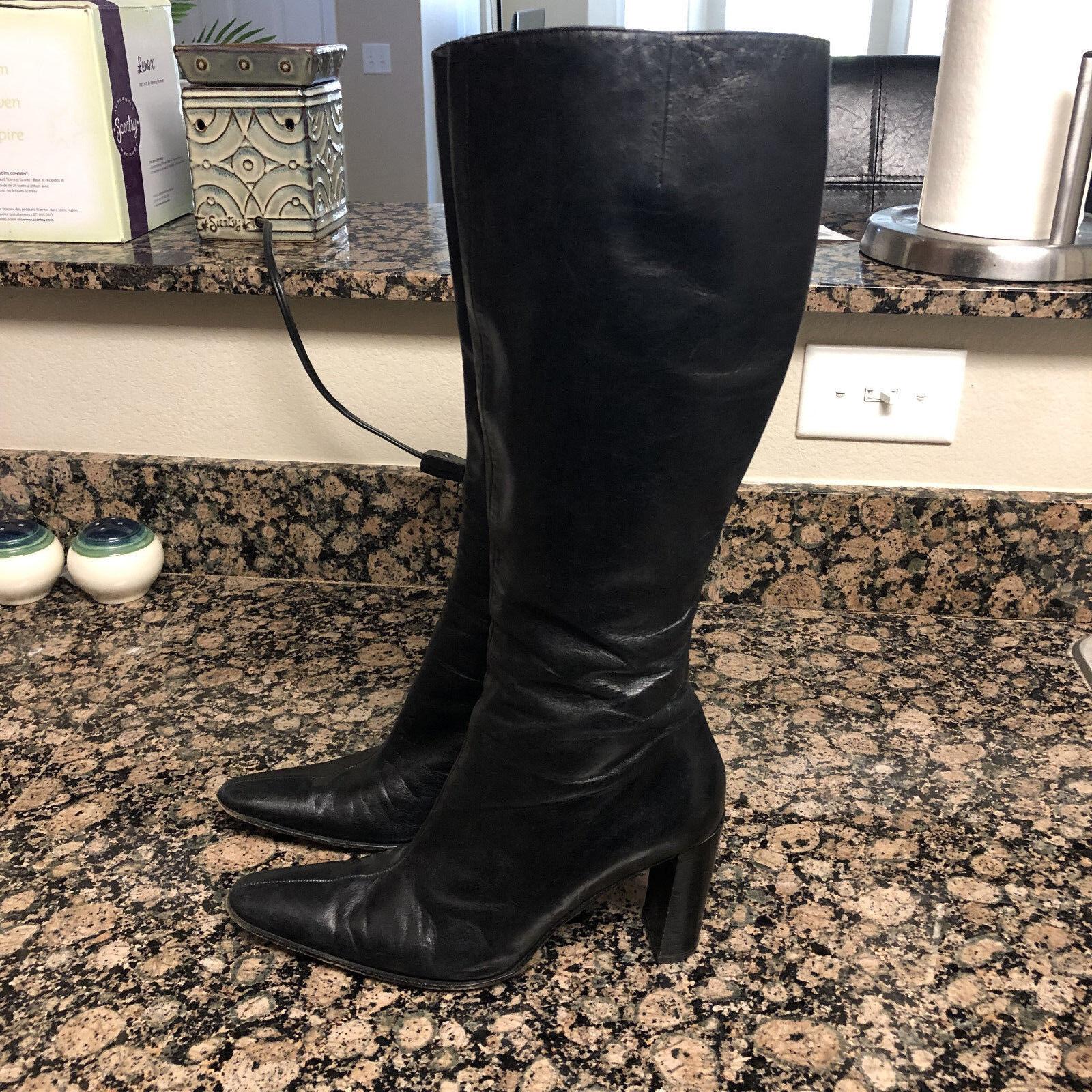 Robert Clergerie Paris France Jalkan High Tall Black Leather Boots Full Zip Sz 8
