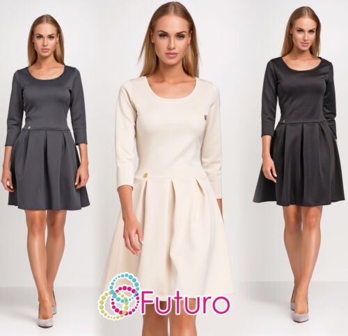 Womens Classic Formal Skater Dress 3//4 Sleeve Scoop Neck Sizes 8-12 FA451