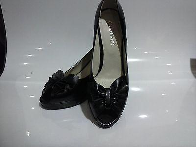 Gucinari Dama Zapatos G6060-4, Negro Cuero, Tacón Peep Toe 8/41, 3.5 in (approx. 8.89 cm)