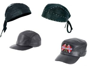 de1e86940a Details about Assorted Genuine Solid Leather Biker Caps and Skull Cap - Buy  1 or the 4pc Set