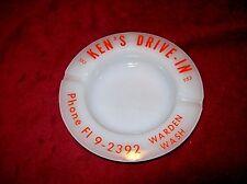 Vintage Milk Glass Ashtray, Ken's Drive-In from Warden, WA.  Phone Fl 9-2392.