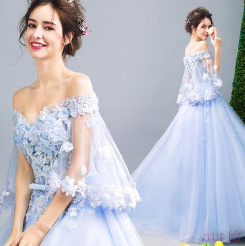 X Ladies Dreamlike Princess Fairy Lace Floral Sleeve Dress Party Gown Formal