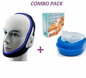 Anti-Snore-Mouth-Piece-Sleep-Aid-Apnea-Nightguard-Device-Chin-snoring-Belt-Strap
