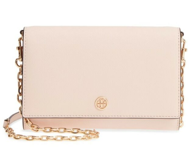 Tory Burch Robinson Chain Wallet Crossbody Handbag Purse In Pale Apricot
