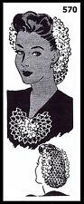 Vintage Victorian 1940s Crochet Hairpiece SNOOD JABOT Pattern LAURA WHEELER #570