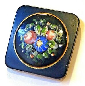 Antique-Button-B-039-ful-Black-Glass-Square-with-Enamel-Flowers-Both-Matte-amp-Shiny