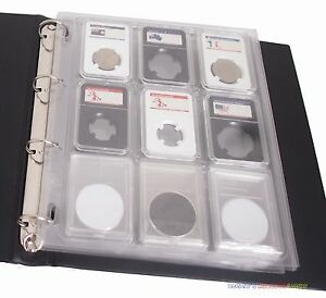 6x Slab Encap Coin Storage Sheet for PCGS NGC Certified Holder Wooden Box
