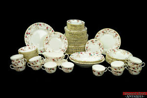 Vintage-86-pc-Minton-Ancestral-Fine-Bone-China-Set-S-376-Floral-Service-for-8