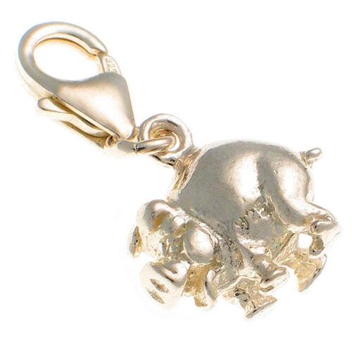 Grasa feliz encanto plata esterlina 925 granja de cerdos con langosta clip por soldada Bliss
