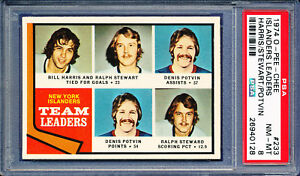 1974-OPC-HOCKEY-o-pee-chee-233-NYI-LEADERS-DENIS-POTVIN-rookie-year-PSA-8
