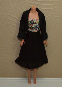 Vintage-Barbie-Mod-Clone-Outfit-Black-Strapless-DRESS-amp-BOLERO-JACKET