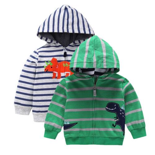 Enfant Bébé Garçons Dinosaure à manches longues Tops à capuche Zip Chaud Manteau Vêtements