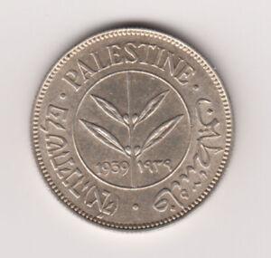 Palestine-British-Mandate-Silver-Coin-Israel-50-Mils-Mil-1939-KM6-UNC