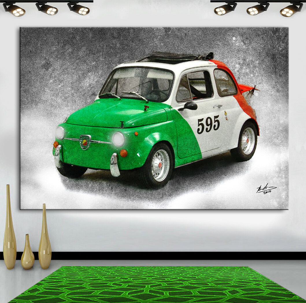 Fiat Evocation Bambino ABARTH 595 Evocation Fiat ITALIA Oldtimer Voiture Images sur toile 1040 A 166a5b